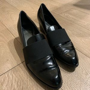 Stuart Weitzman Black Patent Leather Heel Loafer